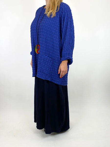 Lagenlook Celia Textured Large Waffle Pocket Top in Royal Blue. code 91110 - Lagenlook Clothing UK