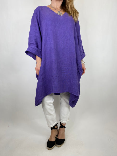 Lagenlook Mykonos V-neck Premium Linen Top in Purple . code 88176