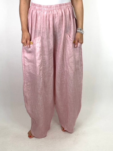Lagenlook Eliza Wide leg Linen Trousers in Pale Pink. code 6503