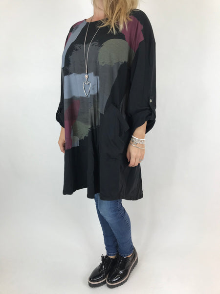 Lagenlook Paint Splash Print Top in Black. code 976301