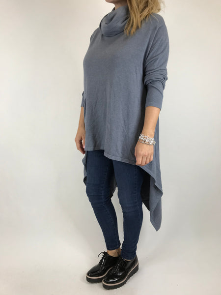 Lagenlook Cowel Neck Jumper in Grey. code 5973