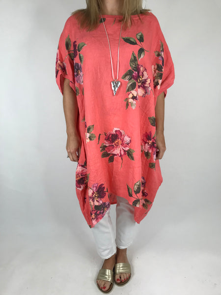 Lagenlook Nikki Summer Flower Tunic in Coral. code 9618