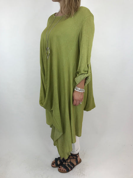 Lagenlook Emilia Quirky fold hem in Lime. code 5631