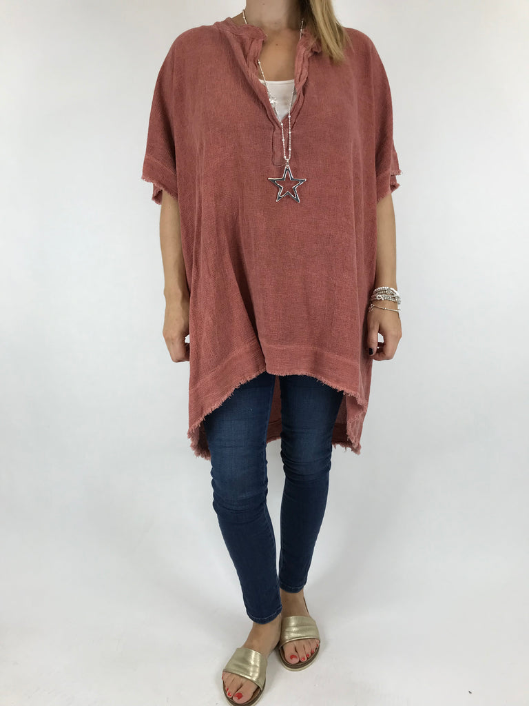 Lagenlook Bella Cotton V-Neck in Brick. code 0200