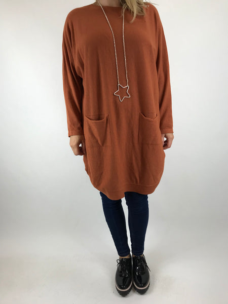Lagenlook Joanna Bow back jumper in Rust. code 5923