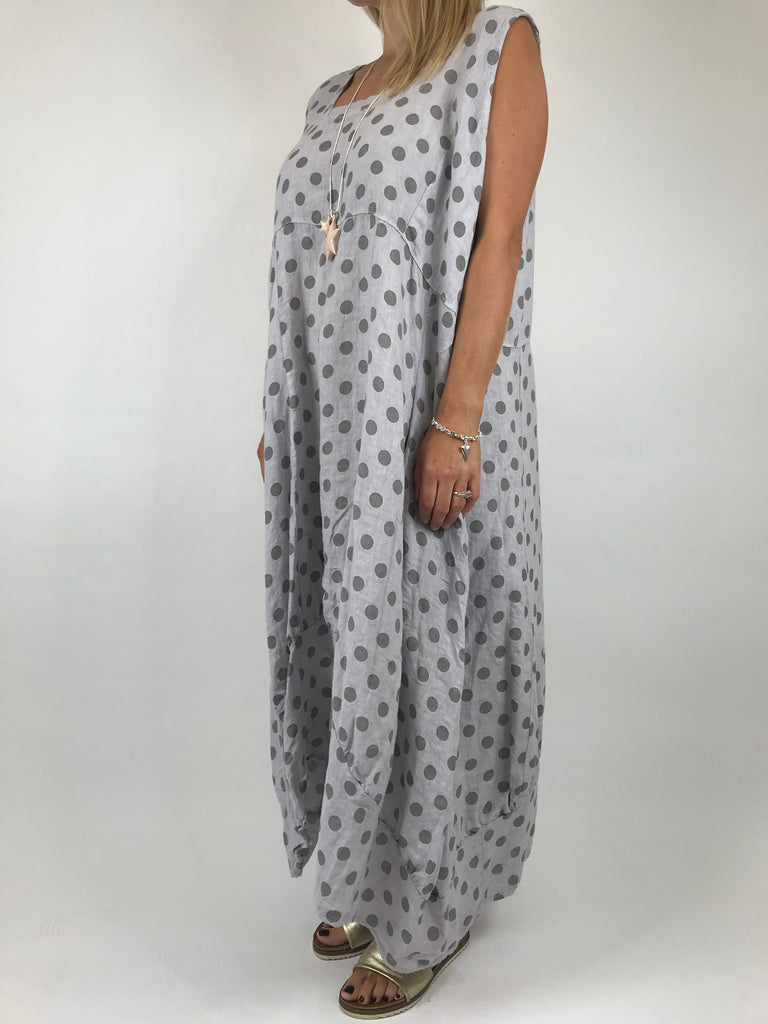 Lagenlook Lucia Dot Linen Dress in Light Grey. Code 5231