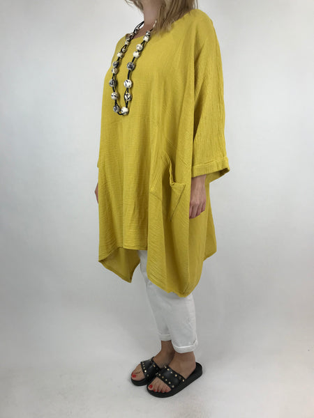 Lagenlook Trinny Oversized Cotton Top in Yellow. code 18168