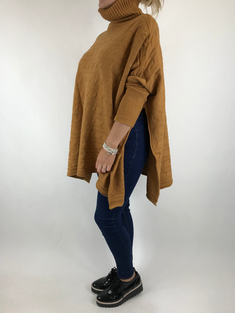 Lagenlook Beth Poncho Cable Textured Jumper in Camel. code 5106