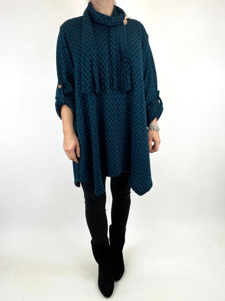 Lagenlook Zig -Zag  Scarf Top in Teal. code 6188