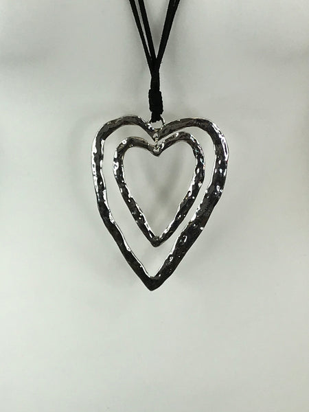 Lagenlook Sliver Double Heart Drop Necklace .Code EL02