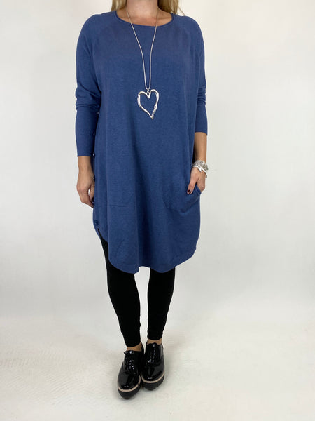 Lagenlook Amelie Button Side Jumper in Denim. code 2560 - Lagenlook Clothing UK