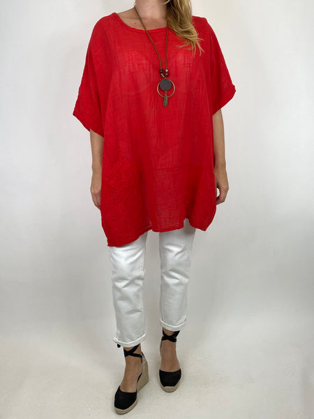 Lagenlook Kia Broderie Anglaise Top in Red. code 9046