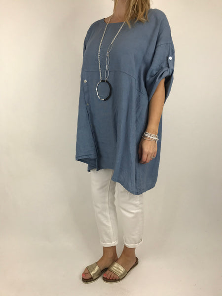 Lagenlook Lydia button Top in Denim Blue.code 5711