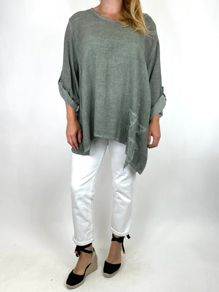 Lagenlook Acidwash Star top in Khaki. code 10052