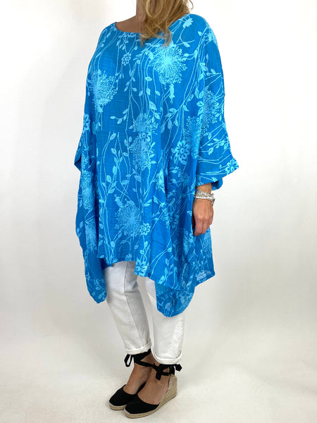 Lagenlook Rachel Flower Top In Aqua Blue. code 6363