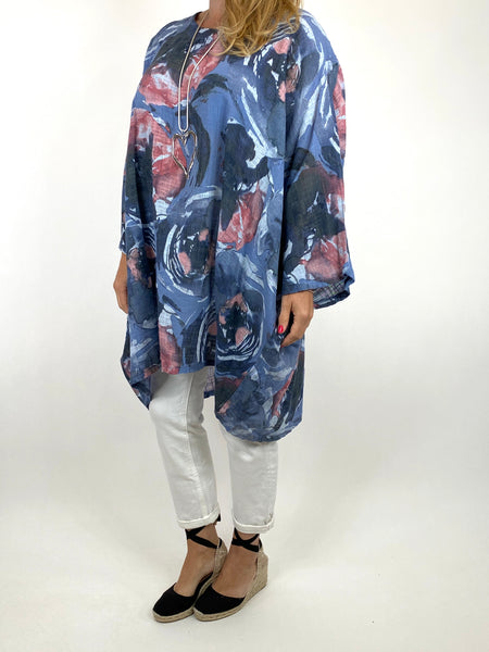 Lagenlook Iris Watercolour Flower Top in Denim . code 91006WC