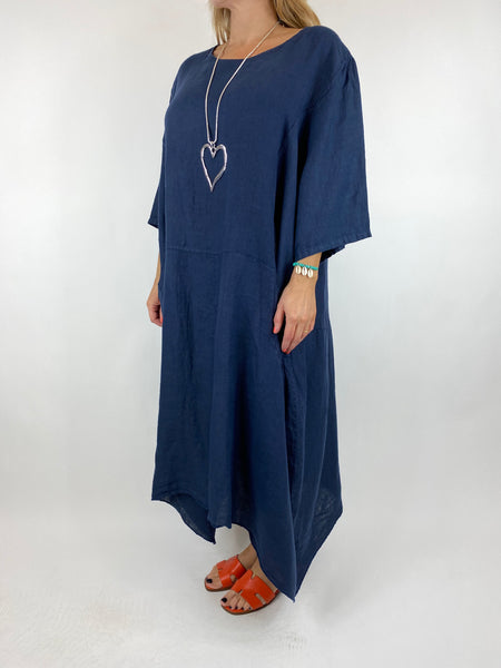 Lagenlook Upton Pocket Plain Linen Tunic in Navy. code 1809