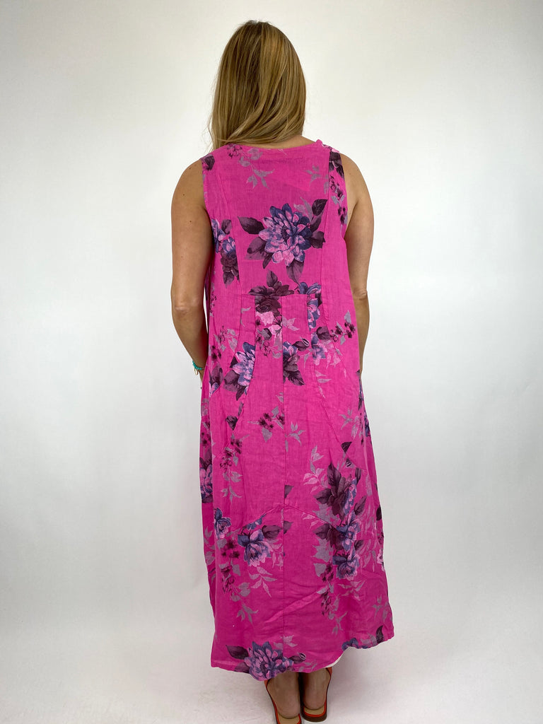 Lagenlook Nellie Linen Flower Regular size Dress in Fuchsia. Code 0839