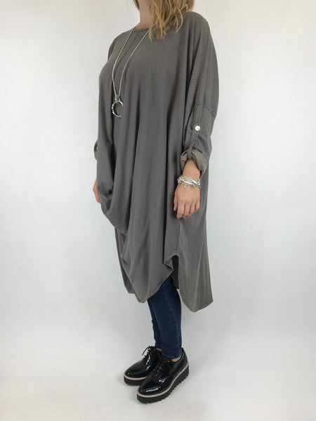 Lagenlook Cotton Fold Front Tunic in Mocha. code 5943