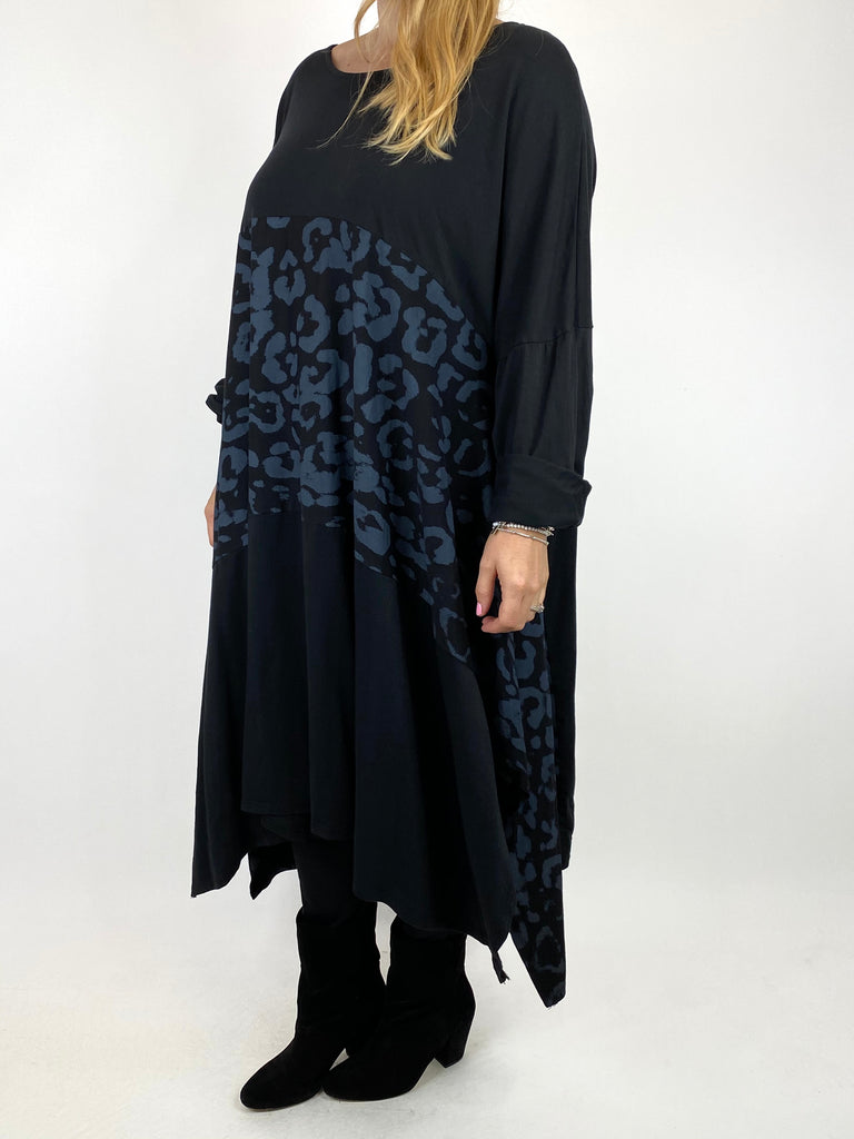 Lagenlook Chrissy Cheetah Panel Tunic in Black. code 10356 - Lagenlook Clothing UK