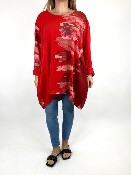 Lagenlook Hetty Flower Top in Red. code 90646 - Lagenlook Clothing UK