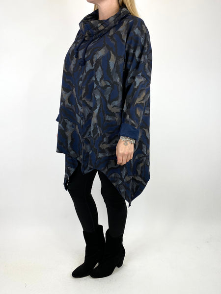 Lagenlook Animal Print Cowl Top in Navy. code 50002