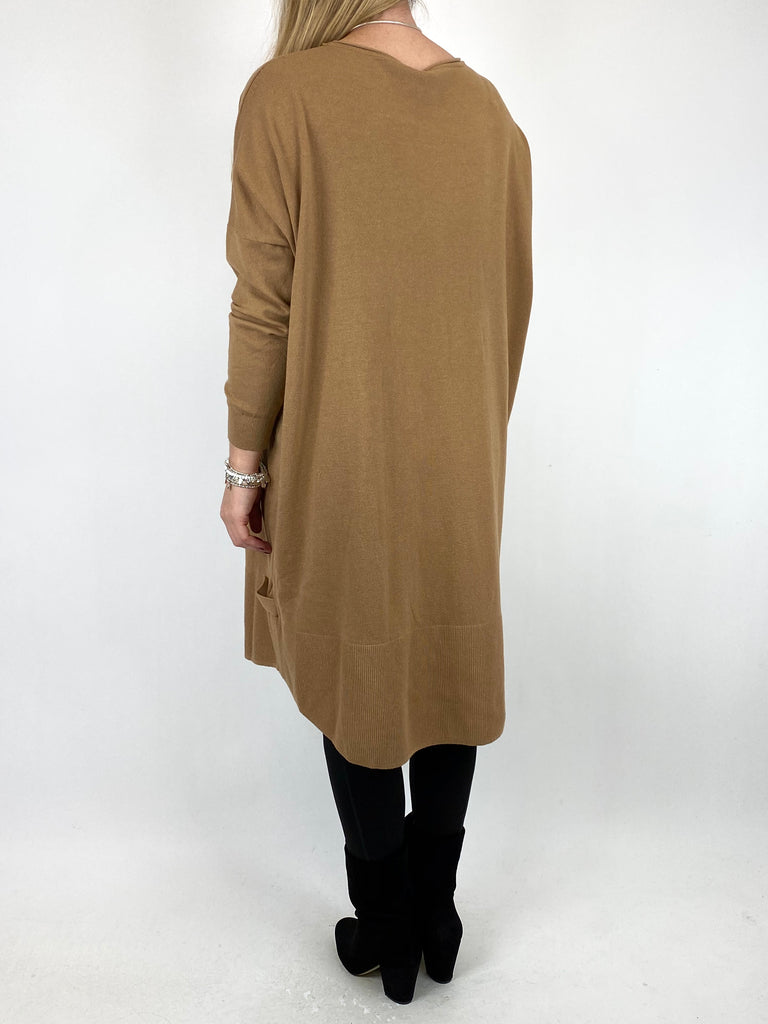 Lagenlook Patsy Button tab detail jumper in Camel. code 2566
