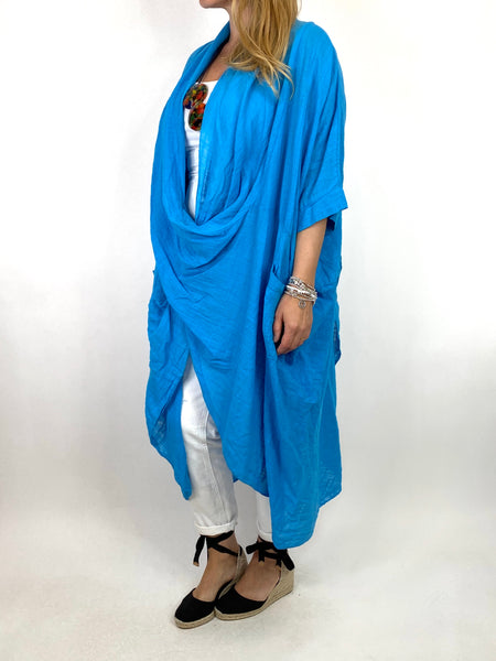 Lagenlook Cotton Wrap Dress Top in Turquoise . code 8307