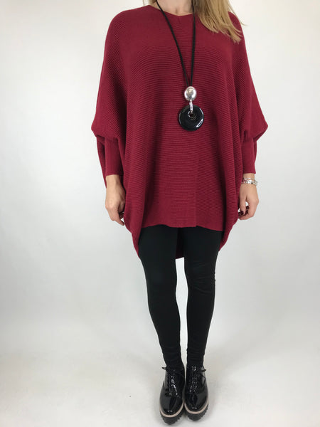 Lagenlook Oxford V-Neck Rib Jumper in wine. code 6029