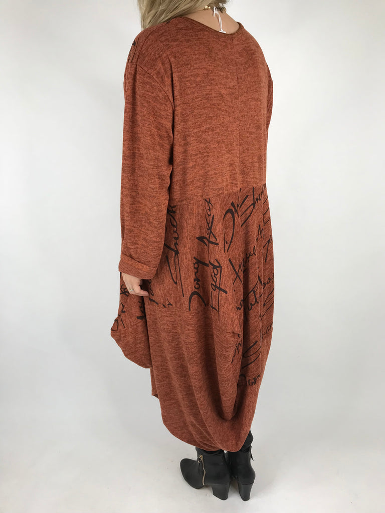 Lagenlook Rina Script Wool Tunic in Rust. code 6550S