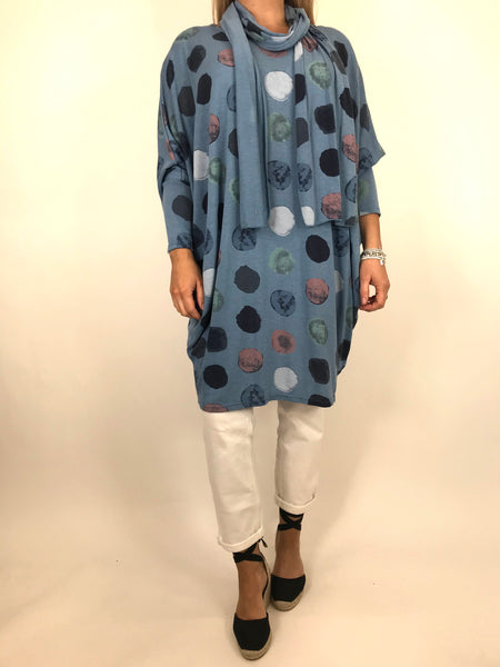 Lagenlook Odell Paint dot Scarf Top in Denim. Code 5147