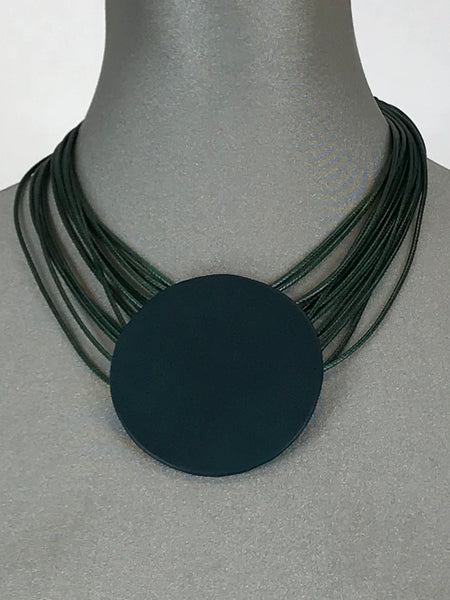 Lagenlook Leather Disc Short Necklace in Bottle Green .Code L10
