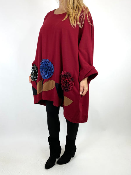 Lagenlook Corolla Flower Hem Sweatshirt in Wine. code 90970