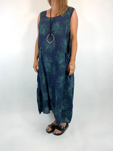 Lagenlook Beverly Palm Leaf Print linen Tunic in Navy. code 6978