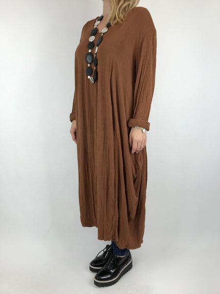 Lagenlook Long Plain V Neck Tunic In Rust. code 5983