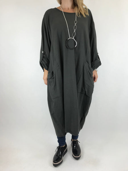 Lagenlook Made In Italy Cici Pocket Tunic in Charcoal. code 5503