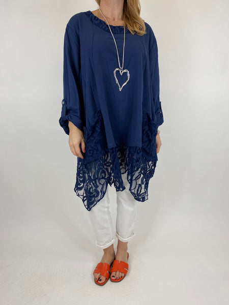 Lagenlook Alice Lace Hem Top in Navy. Code 922011