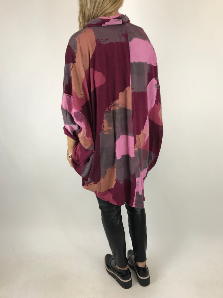 Lagenlook Cowl Neck Paint Splash Print Top in Wine. code 9810 - Lagenlook Clothing UK