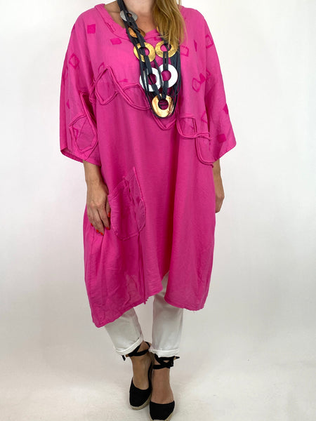 Lagenlook Nelly Twist Front Top in Fuchsia. code 91087