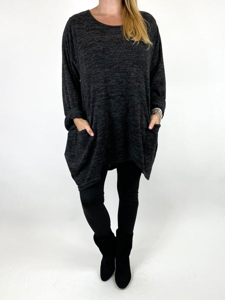 Lagenlook Made In Italy Alps Top in Charcoal . code 7476 - Lagenlook Clothing UK
