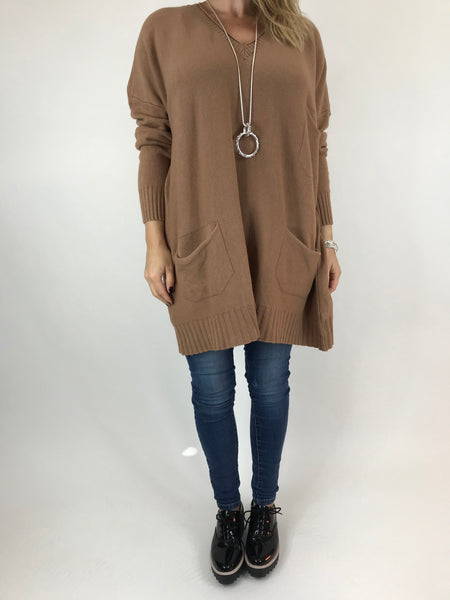 Lagenlook Grove V- Neck Knit jumper in Camel. code 6077