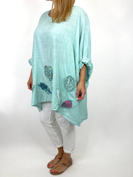 Lagenlook Dalia Flower hem in Mint. Code 90969