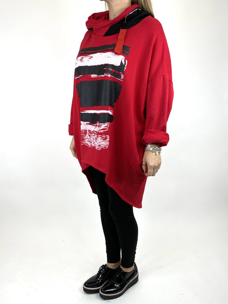 Lagenlook Stripe Paint Hood Top in Red. code 91152 - Lagenlook Clothing UK