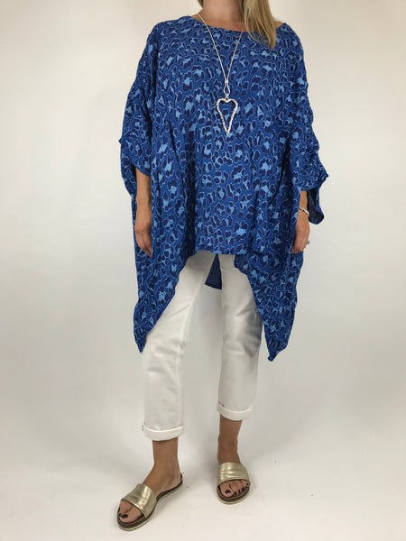 Lagenlook Animal Print Linen Poncho in Royal Blue. code 5214