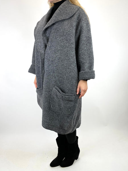 Lagenlook Inka Wool Cocoon Coat in Charcoal .code 9109 - Lagenlook Clothing UK