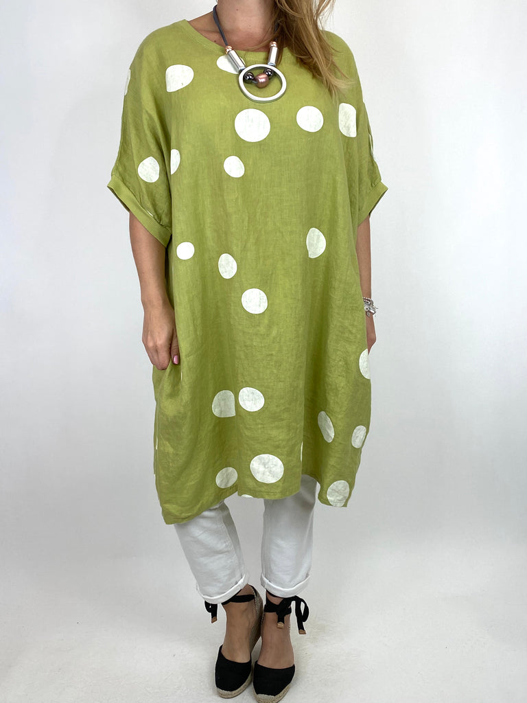 Lagenlook Dot Linen tunic in Lime. code 9619