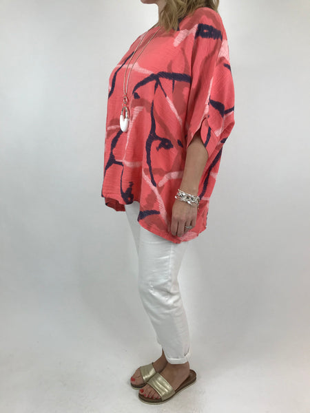 Lagenlook Lizzy Cotton Summer Top in Coral. code 19460