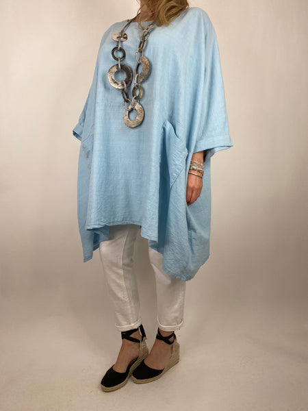 Lagenlook Maya Summer Top in Sky. code 8365