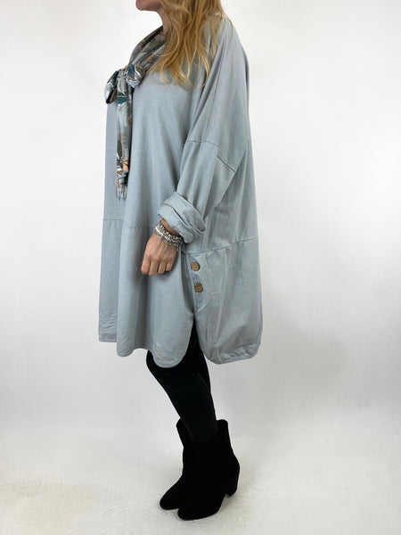 Lagenlook Alice Scarf Button Top in Pale Grey. code 10559