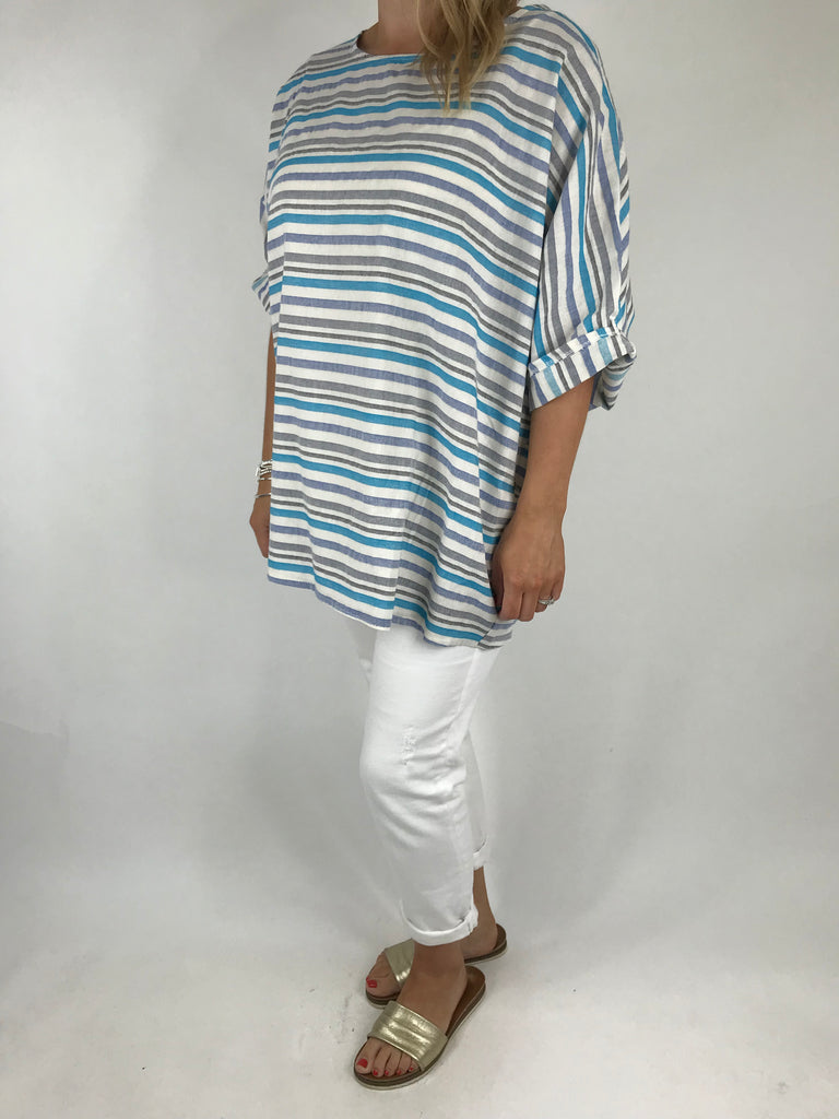 Lagenlook Dora Stripe Top in Blue. code 5262